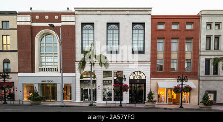 View of shops at roadside, Two Rodeo Drive, Rodeo Drive, Wilshire Boulevard, Beverly Hills Business Triangle, Beverly Hills, Los Angeles County, California, USA - Stock Photo