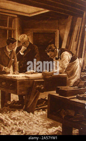 A 1915 illustration showing a traditional British carpenter at work using hand-tools on a workbench - Stock Photo