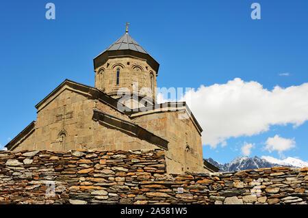 Gergeti Trinity Church (Tsminda Sameba) dating back to the 14th century. Khevi-Kazbegi region. Georgia, Caucasus