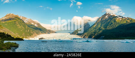 Landscape with Spencer Glacier and lake in Chugach National Forest, Alaska, USA - Stock Photo