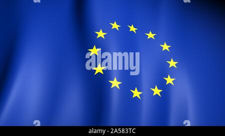 European Flag. Yellow stars on a blue. Council of Europe. - Stock Photo