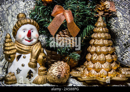 Decorations on the Christmas tree and decorations - time to dress the Christmas tree - figurines, toys, hanging, stars, - Stock Photo