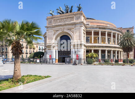 Palermo, Sicily - Marc 23, 2019: Teatro Politeama Palermo, Politeama Theatre front view from the side in daylight. - Stock Photo