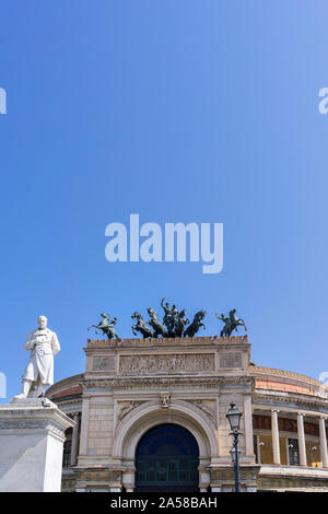 Palermo, Sicily - Marc 23, 2019: Teatro Politeama Palermo, Politeama Theatre front view with broad copy space. - Stock Photo