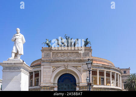 Palermo, Sicily - Marc 23, 2019: Teatro Politeama Palermo, Politeama Theatre front view in daylight with copy space. - Stock Photo