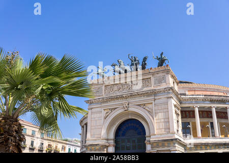 Palermo, Sicily - March 23, 2019: Teatro Politeama Palermo, Politeama Theatre front view in daylight with copy space. - Stock Photo