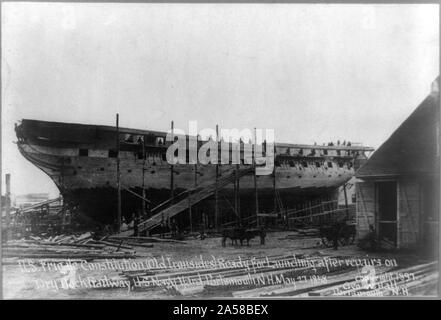 U. S. Frigate Constitution, (Old Ironsides) ready for launching after repairs on dry dock railway, U. S. Navy yard, Portsmouth, N. H. May 27, 1858 - Stock Photo