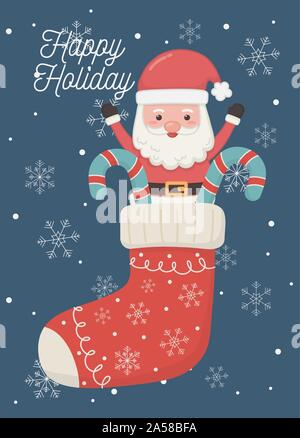 santa in sock with candy canes snowflakes happy holiday card vector illustration - Stock Photo