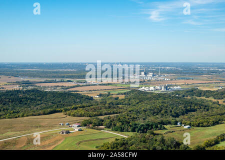 Aerial photograph of Omaha, Nebraska and Council Bluffs, Iowa, USA. - Stock Photo
