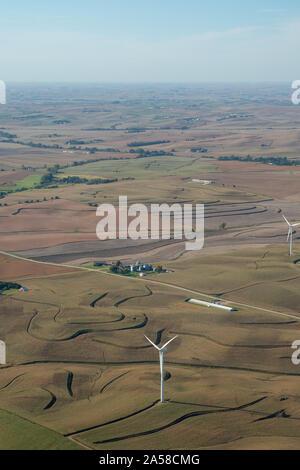 Aerial photograph of rural farmland in Crawford County, Iowa, USA. - Stock Photo
