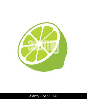 Lime icon citruses isolated on white background vector - Stock Photo