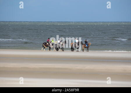 Horse back riding at the beach of Langeoog (Germany) - Stock Photo