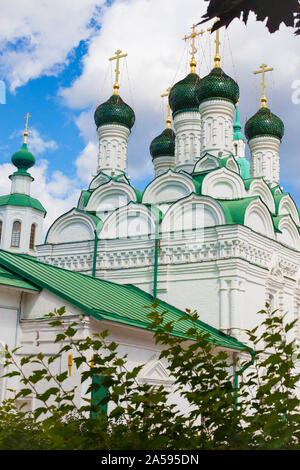 Amazing building of Russian Orthodox Church temple built in XVII cent - the Church of Wonderworkers of Chernigov in Moscow - Stock Photo