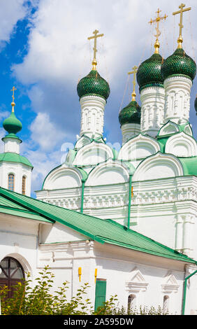 Green domed Church of Wondermakers XVII century in Moscow, Russia. The church is dedicated to the saints Michael and Theodore - Stock Photo