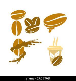 Coffee Logo Template Vector Icon Illustration Design Set - Stock Photo