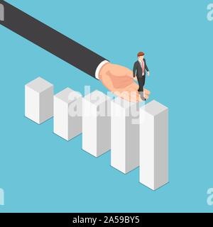 Flat 3d isometric big business hand helping businessman reaching the top of graph. Business assistant and teamwork concept. - Stock Photo