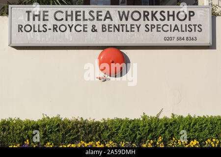 Sign for the Chelsea workshop, Rolls Royce and Bentley specialists, London - Stock Photo