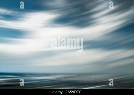 Breezy  weather abstract. Cloudy sky and ocean view. Line art, motion blur, blue, turquoise colors - Stock Photo