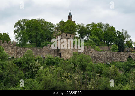 View of the Tsarevets Fortress and Patriarchal Cathedral of the Holy Ascension of God. Veliko Tarnovo in Bulgaria. - Stock Photo