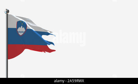 Slovenia 3D tattered waving flag illustration on Flagpole. Perfect for background with space on the right side. - Stock Photo