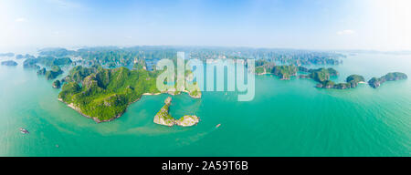 Aerial view Lan Ha Bay Cat Ba island Ha Long Bay, unique limestone rock islands and karst formation peaks in the sea, famous tourism destination in Vi - Stock Photo