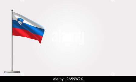 Slovenia 3D waving flag illustration on Flagpole. Perfect for background with space on the right side. - Stock Photo