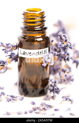 healing plants: Lavender essential oil in bottle with lavender flowers - Stock Photo