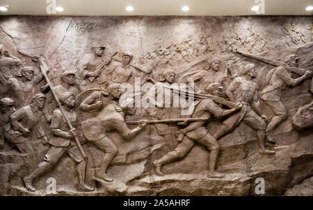China,Jinggangshan-22 AUG 2018:People's Liberation Army Statue in Museum of Revolution in Jinggang Mountains - Stock Photo
