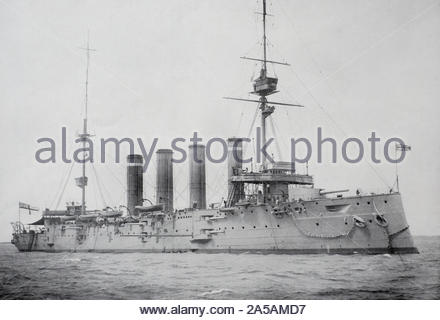 WW1 HMS Good Hope was a Drake-class armoured cruiser built for the Royal Navy in 1901, sunk at the Battle of Coronel in November 1914 - Stock Photo