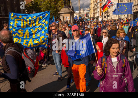 London, UK. 19th Oct, 2019. Peoples Vote Anti Brexit March Westminster London England_19 Oct 2019 More than a million anti-Brexit pro the Peoples Vote campaigners marched through central London today to make their voices heard against Prime Minister Boris Johnsons latest deal as Parliament sat in session on a Saturday for the first time sine the Falklands War in 1982. Photograph: Brian Harris/Alamy News Credit: BRIAN HARRIS/Alamy Live News Tags (keywords) - Stock Photo