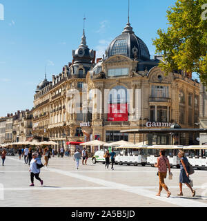 MONTPELLIER, FRANCE - SEPTEMBER 19, 2019: A view of the Place de la Comedie square in Montpellier, France, the main public square in the city - Stock Photo