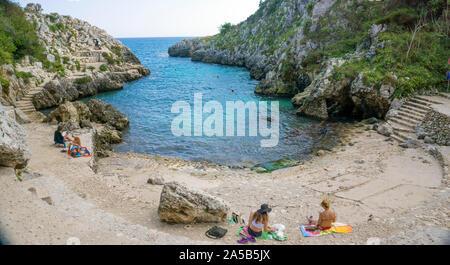 The idyllic beach and bay Cala dell'Acquaviva at Castro, Lecce, Apulia, Italy - Stock Photo