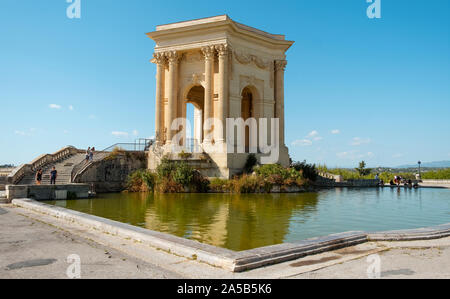 MONTPELLIER, FRANCE - SEPTEMBER 19, 2019: A view of the Promenade du Peyrou garden in Montpellier, France, highlighting the Chateau de eau, its iconic - Stock Photo