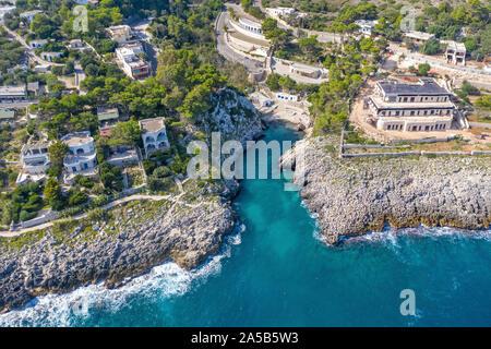 Aerial view of the idyllic beach and bay Cala dell'Acquaviva at Castro, Lecce, Apulia, Italy - Stock Photo