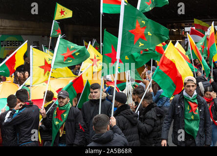 Demonstration on Saturday 2019/10/19 in Cologne against the military offensive of Turkey in Northern Syria with about 10,000 participants. - Stock Photo