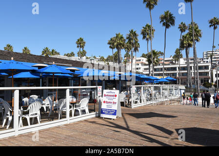 SAN CLEMENTE, CALIFORNIA - 18 OCT 2019: The Fishermans Restaurant and Bar on the pier in the south Orange County beach town. - Stock Photo