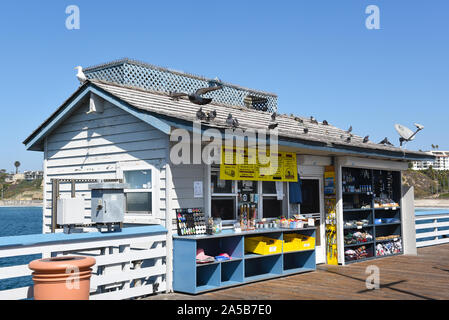 SAN CLEMENTE, CALIFORNIA - 18 OCT 2019: The Pier Grill, a snack shack and souvenir store on the San Clemente Pier. - Stock Photo