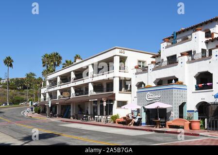 SAN CLEMENTE-CALIFORNIA - 18 OCT 2019: Shops along Avenida Victoria in the south Orange County beach town. - Stock Photo