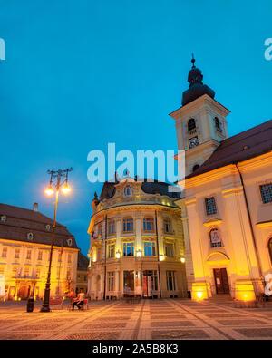 Downtown Sibiu during sunset, Romania, taken in May 2019 - Stock Photo