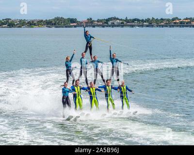 The Sarasota Ski-A-Rees Water Ski team preforming in Sarasota Bay in Sarasota Florida - Stock Photo