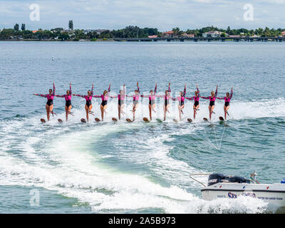 The Sarasota Ski-A-Rees Water Ski team preforming in Sarasota Bay in Sarasota Florida - Stock Photo