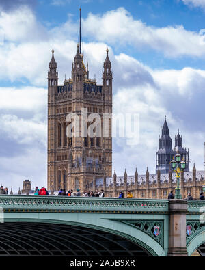 Crowded Westminster Bridge on a cloudy day in London,UK - Stock Photo