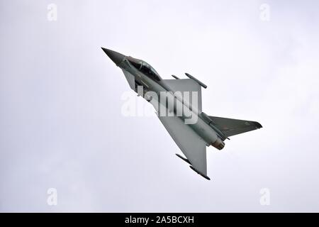 RAF Typhoon fighter jet performing at the Royal International Air Tattoo 2019 - Stock Photo