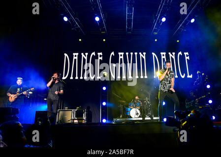 Las Vegas Nevada, October 18, 2019 – Dance Gavin Dance performing at the third annual Las Rageous heavy metal music festival held at the Downtown Las Vegas Events Center. Photo Credit: Ken Howard Images - Stock Photo
