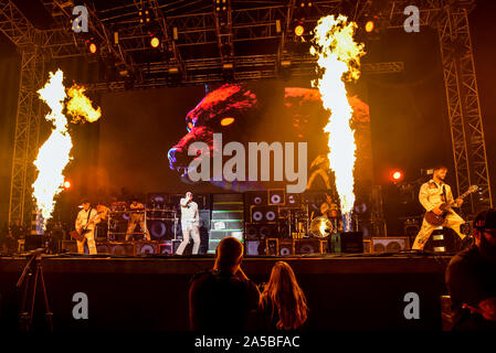 Las Vegas Nevada, October 18, 2019 – Bring Me The Horizon performing in concert at the third annual Las Rageous heavy metal music festival held at the Downtown Las Vegas Events Center. Photo Credit: Ken Howard Images - Stock Photo