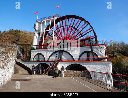 Laxey Wheel, Laxey, Isle of Man, UK, The Laxey Wheel built into the hillside above the village of Laxey, the largest working waterwheel in the world. - Stock Photo