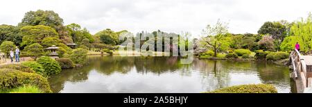 A panoramic shot of a pond surrounded by trees and plants with a cloudy sky in the background - Stock Photo