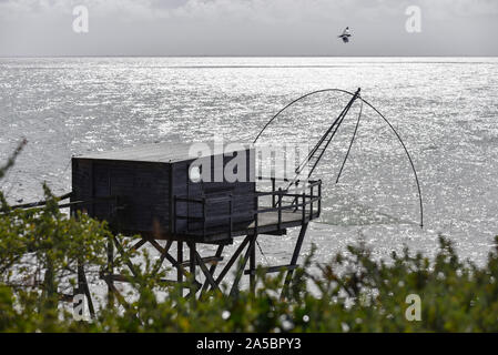 Typical carrelet fishing huts in Pornic, Loire-Atlantique department, western France. - Stock Photo