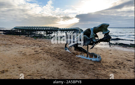 Giant 'ocean snake' work of art captured at sunset (a sculpture by Huang Yong Ping) located on the shore of Saint-Brévin-les-Pins beach. - Stock Photo
