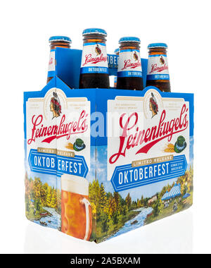 Winneconne, WI - 21 September 2019: A six pack of Leinenkugels Octoberfest beer on an isolated background. - Stock Photo